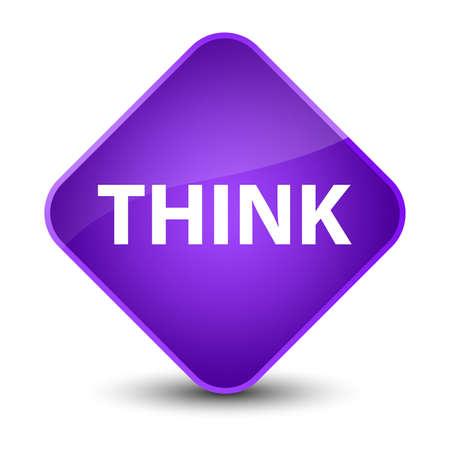 Think isolated on elegant purple diamond button abstract illustration