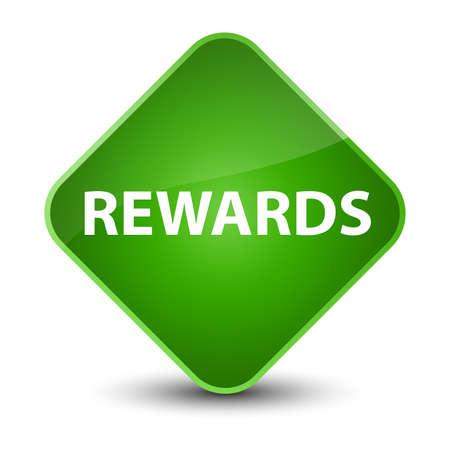 Rewards isolated on elegant green diamond button abstract illustration Stock Photo