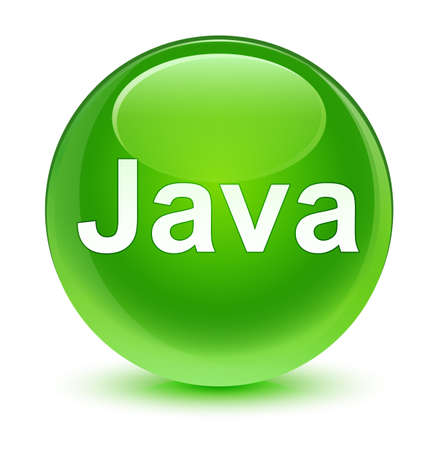 Java isolated on glassy green round button abstract illustration