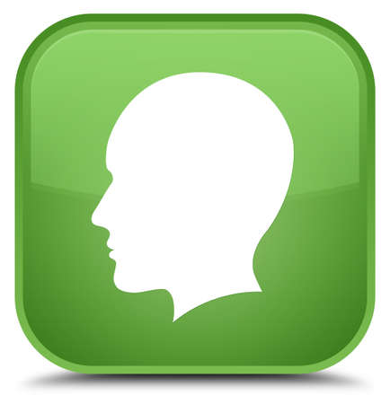 Head men face icon isolated on special soft green square button abstract illustration