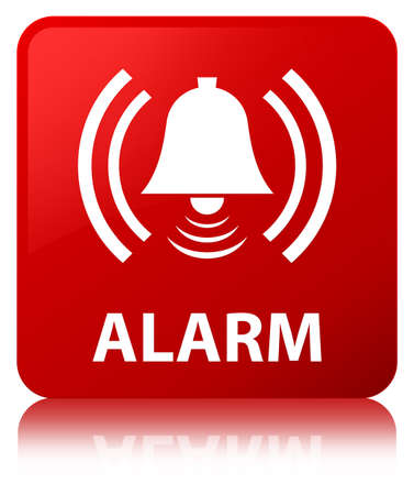 Alarm (bell icon) isolated on red square button reflected abstract illustration
