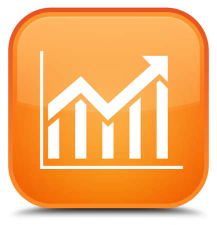 Statistics icon isolated on special orange square button abstract illustration Stock Photo