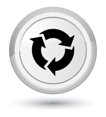 Erneuern Sie die Ikone, die auf weißer abstrakter runder Knopfzusammenfassungsillustration lokalisiert wird