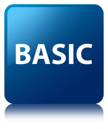 Basic isolated on blue square button reflected abstract illustration
