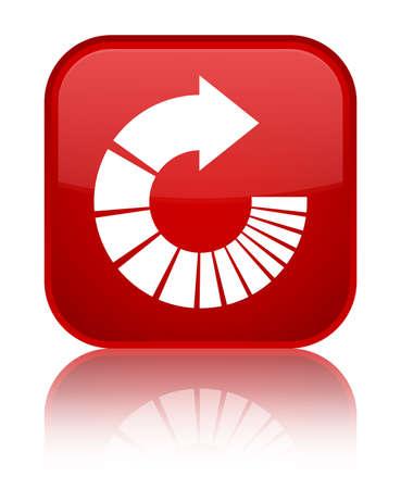 Gire el icono de la flecha aislado en el botón especial del cuadrado rojo reflejado ilustración abstracta
