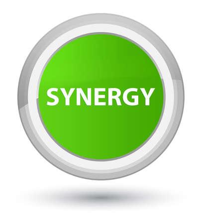 Synergie op eerste zachte groene ronde knoop abstracte illustratie die wordt geïsoleerd Stockfoto