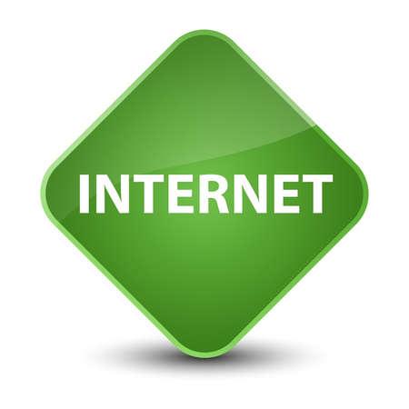 Internet isolated on elegant soft green diamond button abstract illustration
