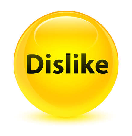 Dislike isolated on glassy yellow round button abstract illustration