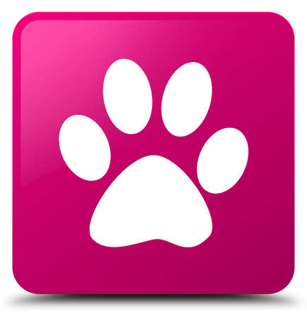 Animal footprint icon isolated on pink square button abstract illustration Stock Photo