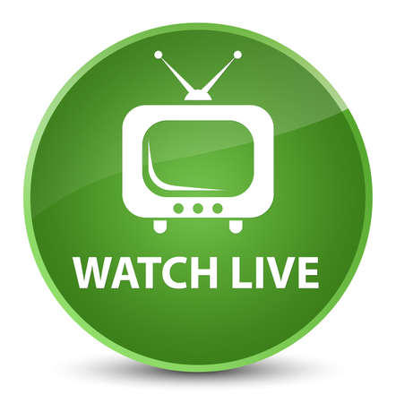 Watch live isolated on elegant soft green round button abstract illustration