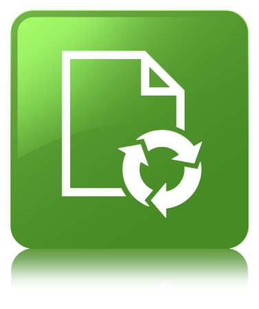 Document process icon isolated on soft green square button reflected abstract illustration