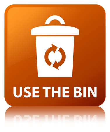 Use the bin isolated on brown square button reflected abstract illustration Stock Photo