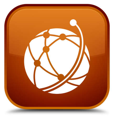 Global network icon isolated on special brown square button abstract illustration Stock Photo