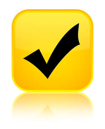 Validation icon isolated on special yellow square button reflected abstract illustration Stock Photo