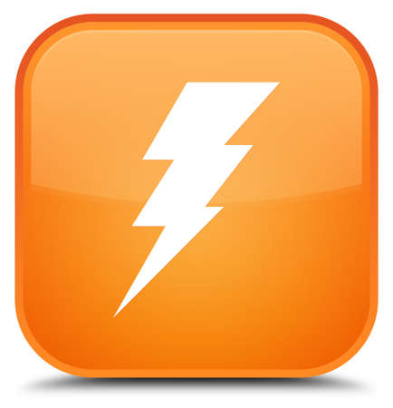 Electricity icon isolated on special orange square button abstract illustration