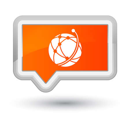 Global network icon isolated on prime orange banner button abstract illustration Stock Photo