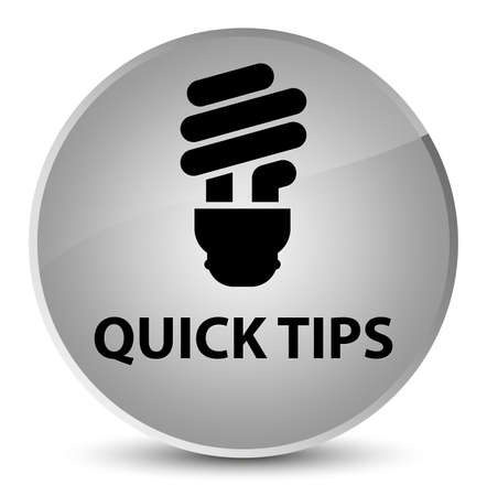Quick tips (bulb icon) isolated on elegant white round button abstract illustration Stock Photo