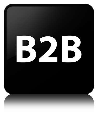 B2b isolated on black square button reflected abstract illustration