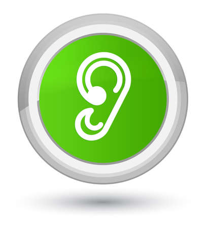 Ear icon isolated on prime soft green round button abstract illustration