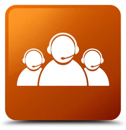 Customer care team icon isolated on brown square button abstract illustration Stock Photo