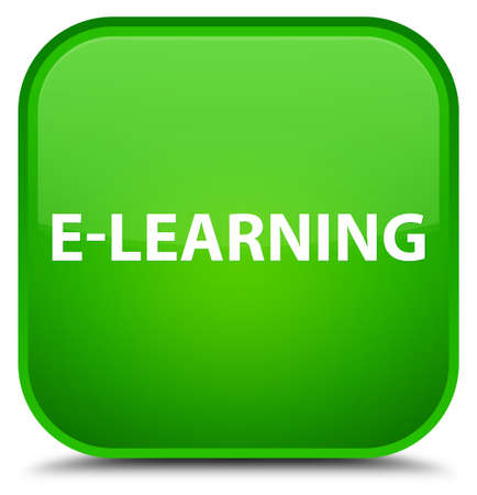 special education: E-learning isolated on special green square button abstract illustration