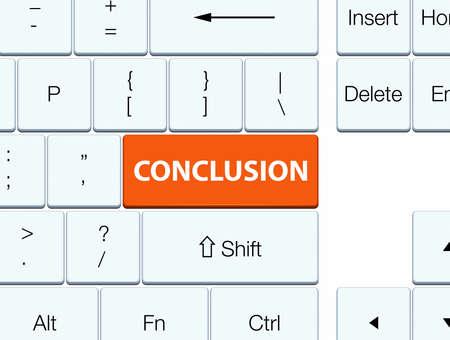 Conclusie op de oranje abstracte illustratie die van de toetsenbordknoop wordt geïsoleerd