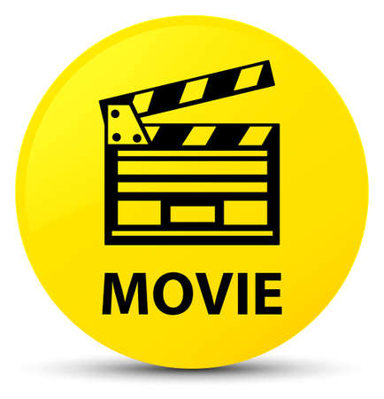 Movie (cinema clip icon) isolated on yellow round button abstract illustration
