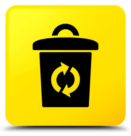 Trash icon isolated on yellow square button abstract illustration Stock Photo