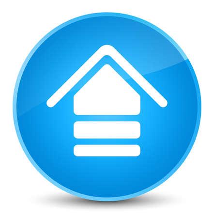 Upload icon isolated on elegant cyan blue round button abstract illustration Standard-Bild