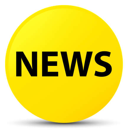 News isolated on yellow round button abstract illustration Stock Photo