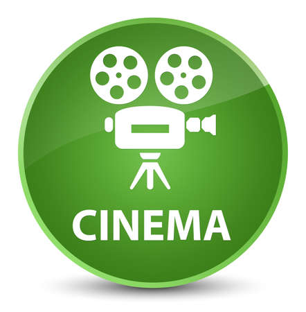 Cinema (video camera icon) isolated on elegant soft green round button abstract illustration