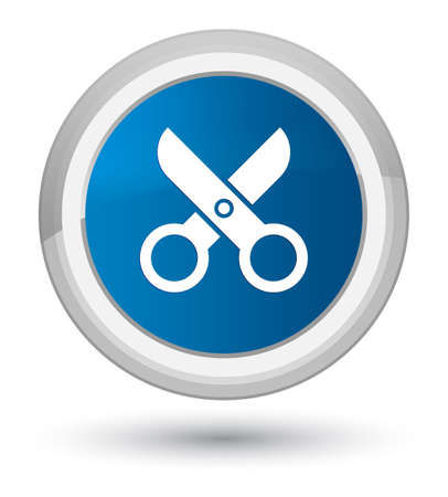 Scissors icon isolated on prime blue round button abstract illustration