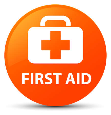 First aid isolated on orange round button abstract illustration