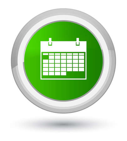 prime: Calendar icon isolated on prime green round button abstract illustration Stock Photo
