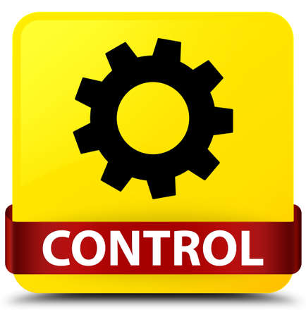 Control (settings icon) isolated on yellow square button with red ribbon in middle abstract illustration Stock Photo