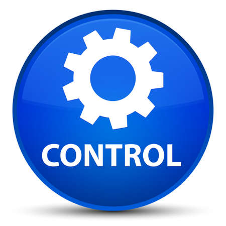 Control (settings icon) isolated on special blue round button abstract illustration