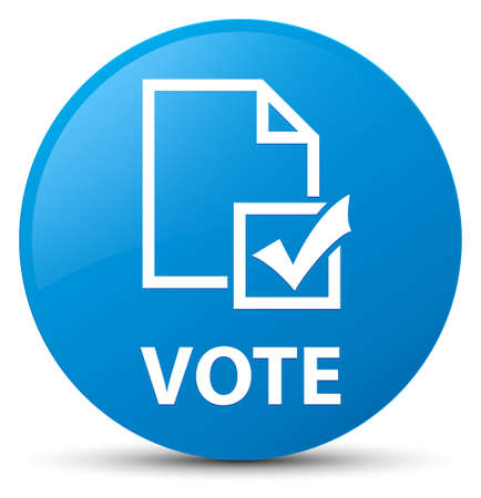 Vote (survey icon) isolated on cyan blue round button abstract illustration Stock Photo