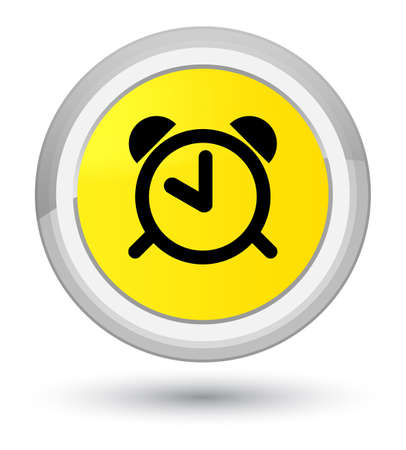 Alarm clock icon isolated on prime yellow round button abstract illustration