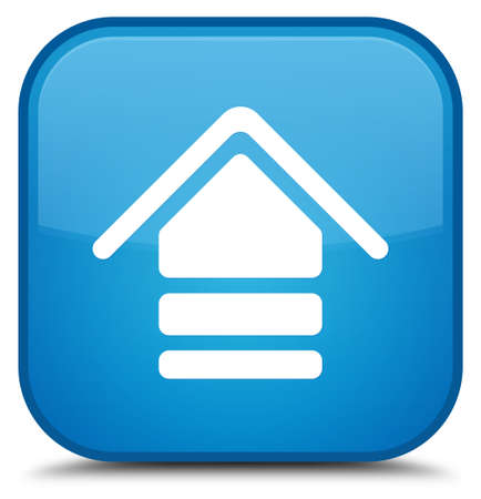 Upload icon isolated on special cyan blue square button abstract illustration