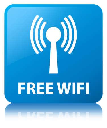 Wifi gratuit (réseau WLAN) isolé sur cyan bleu bouton carré reflète illustration abstraite Banque d'images - 89354834
