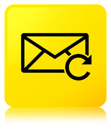 Refresh email icon isolated on yellow square button reflected abstract illustration