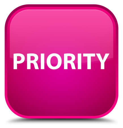 Priority isolated on special pink square button abstract illustration Фото со стока