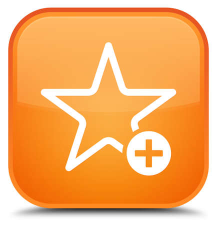 Add to favorite icon isolated on special orange square button abstract illustration