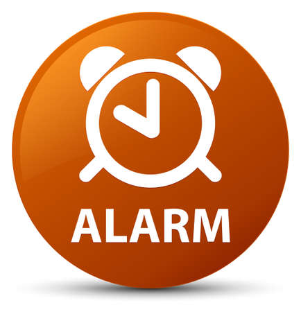 up time: Alarm isolated on brown round button abstract illustration