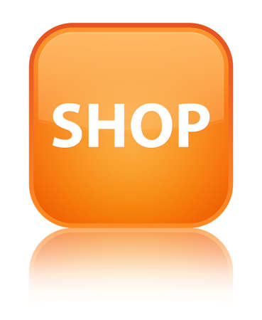 Shop isolated on special orange square button reflected abstract illustration