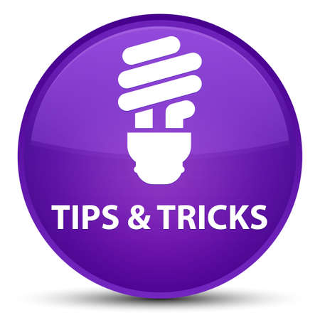 Tips and tricks (bulb icon) isolated on special purple round button abstract illustration