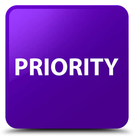 Priority isolated on purple square button abstract illustration