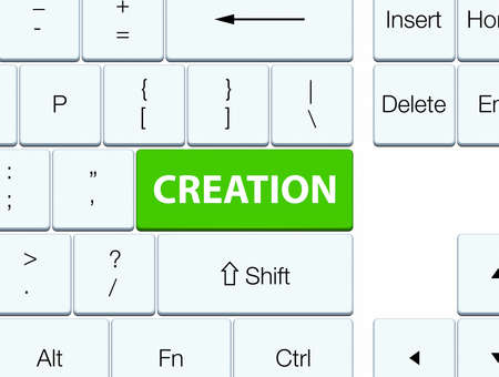 Creation isolated on soft green keyboard button abstract illustration