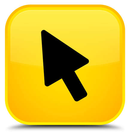 Cursor icon isolated on special yellow square button abstract illustration Stock Photo
