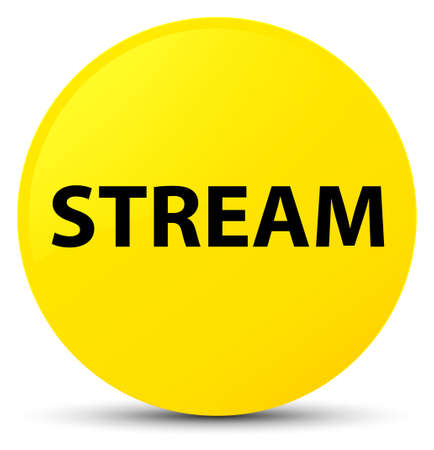Stream isolated on yellow round button abstract illustration
